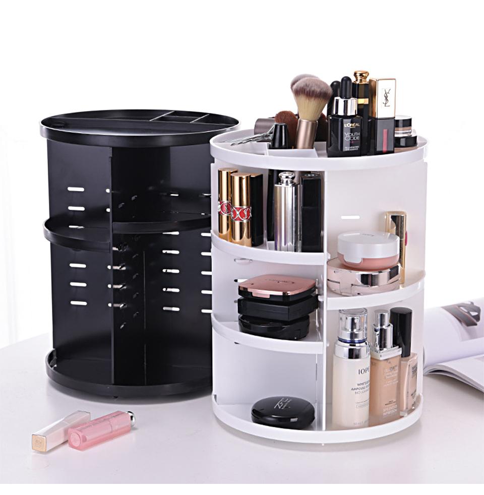 360 Degree Rotating Makeup Organizer Multifunction Jewelry Cosmetic Lipstick Brushes Make Up Organizer Plastic Storage Box Case 02
