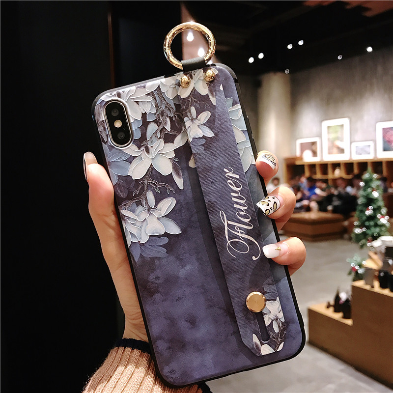 10 SoCouple Wrist Strap Phone Cases For iPhone 7 Flower Case For iPhone 6 6S 7 8 Plus X XS Max XR Matte Soft Silicone Back Cover