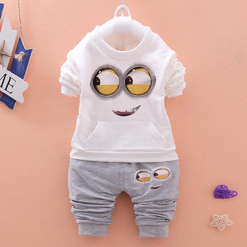 Baby Girls Boys Minions Suits Infant Newborn Clothing Kids Hooded Vest T-Shirt Pants Spring Autumn Cartoon Cotton Children Clothes
