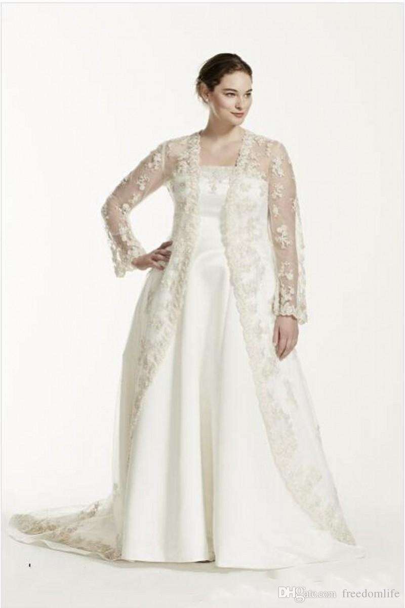 Modest Plus Size Two Pieces Wedding Dresses Strapless A Line Bridal Gowns With Sheer Long Sleeve Lace Jacket Custom Made Wedding Dress