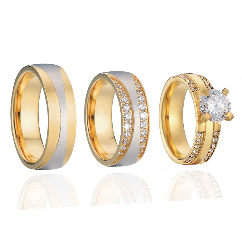 Luxury Gold Color 3 pieces wedding rings set for men and women bridal band Jewelry cz couple engagement rings alliance anel (1)