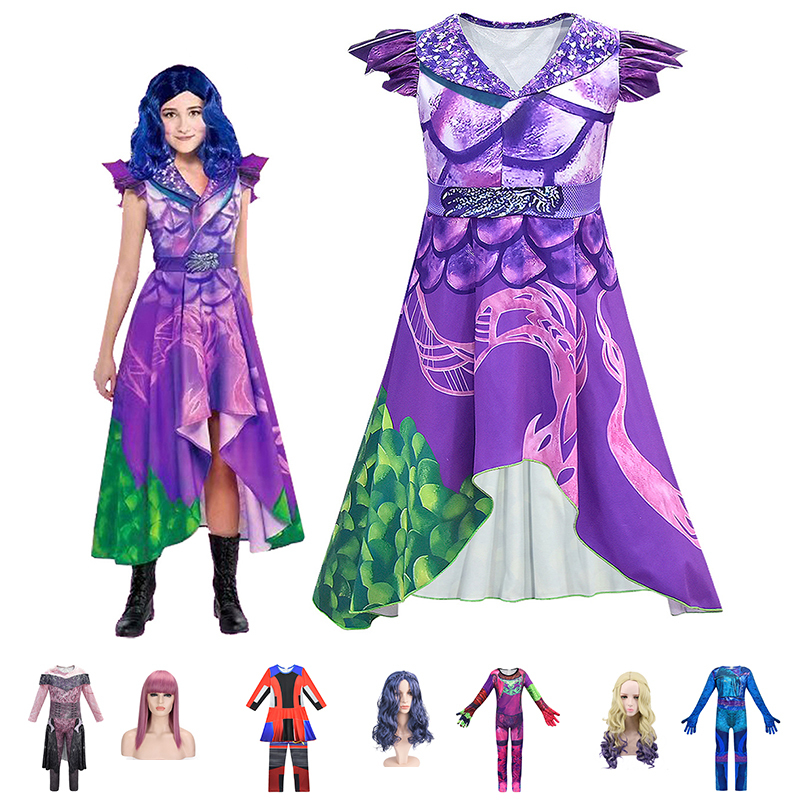 Girls Costume Dress Up Cosplay Jumpsuit for Halloween Birthday Party Set 5pcs//Bag