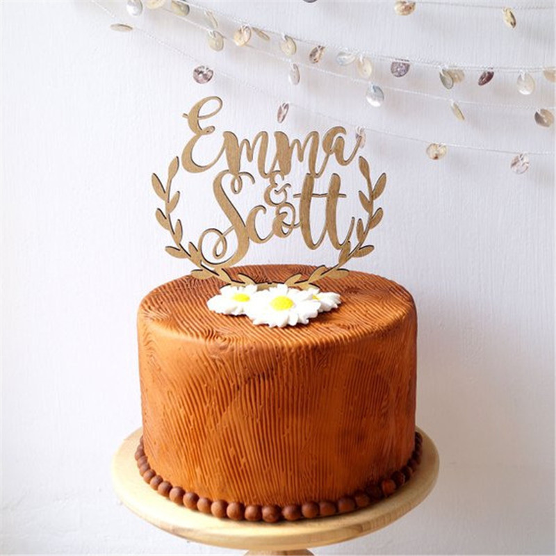 Personalized Names Wedding Cake Topper, wooden rustic wedding cake topper, acrylic cake topper custom (4)