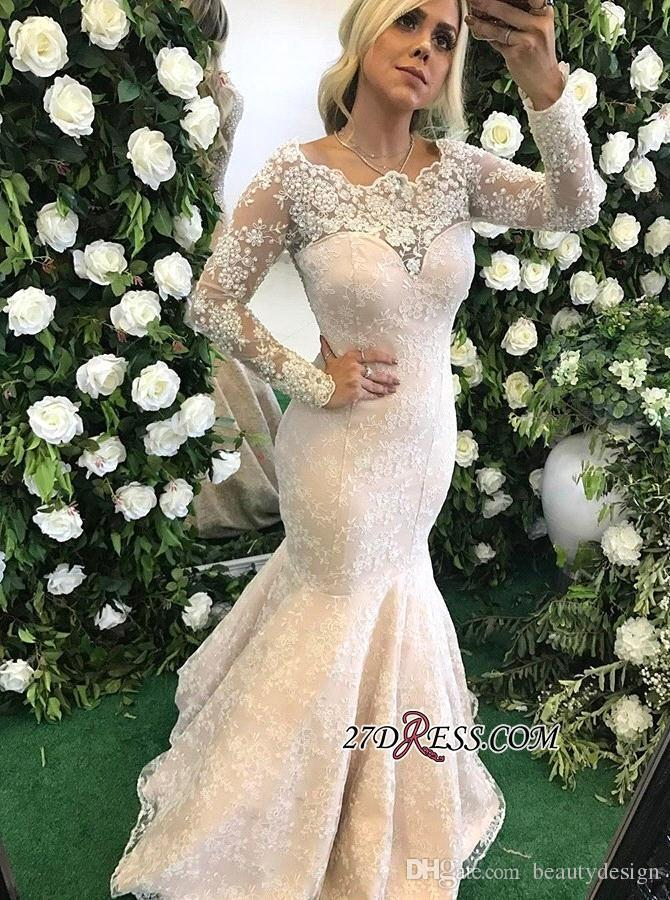 Elegant Vintage Sheer Long Sleeves Mermaid Wedding Dresses 2018 New Lace Beaded Modest Bridal Gowns Illusion Back Wedding Gowns