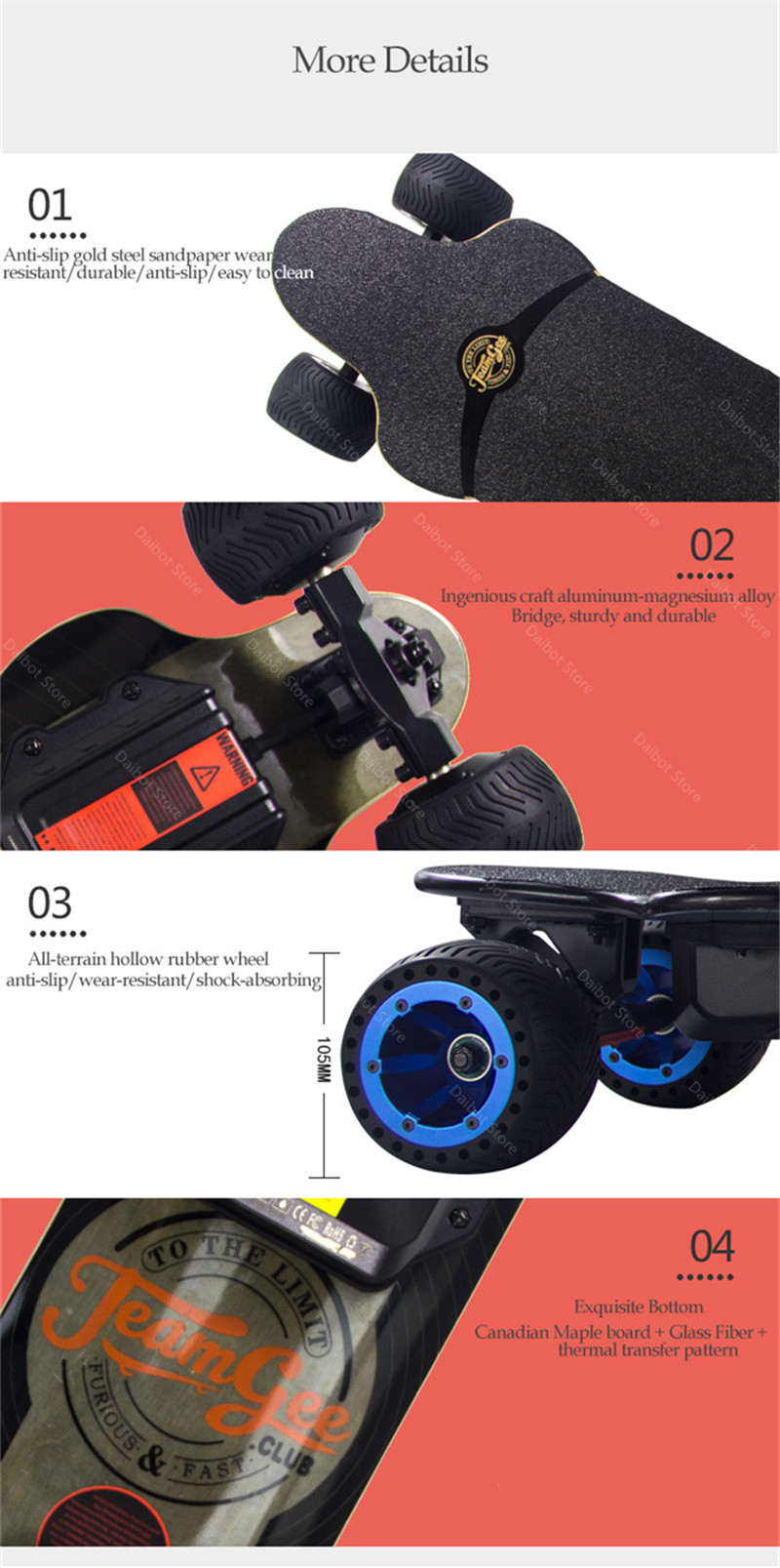 New Electric Scooter Off Road 4 Wheels Electric Scooters Double Drive H20T 36V Four Wheel Electric Skateboard With Rubber Wheels (17)