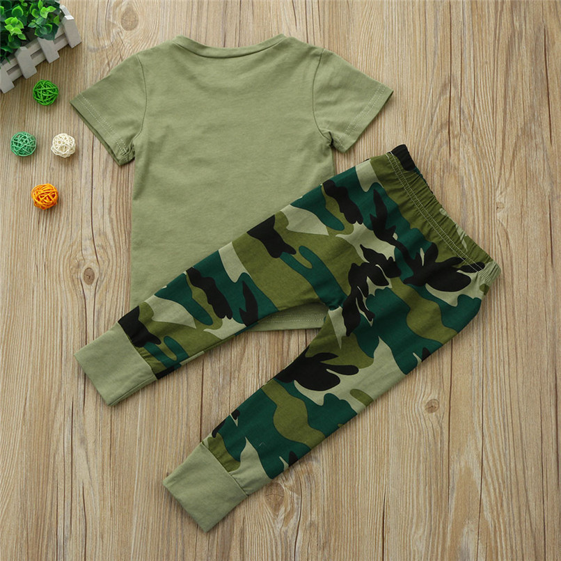 2PCS Baby Boys Sets Newborn Toddler Baby Boys Short sleeve Letter T-Shirt Tops+Camouflage Pants Set Baby Boys Clothes M8Y16 (5)
