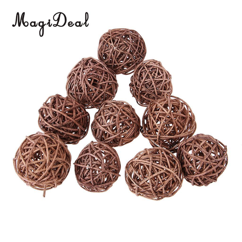 30x Coffee White Natural Round Rattan Wicker Ball Christmas Tree Ornament for Home Garden Wedding Party Decoration 5cm