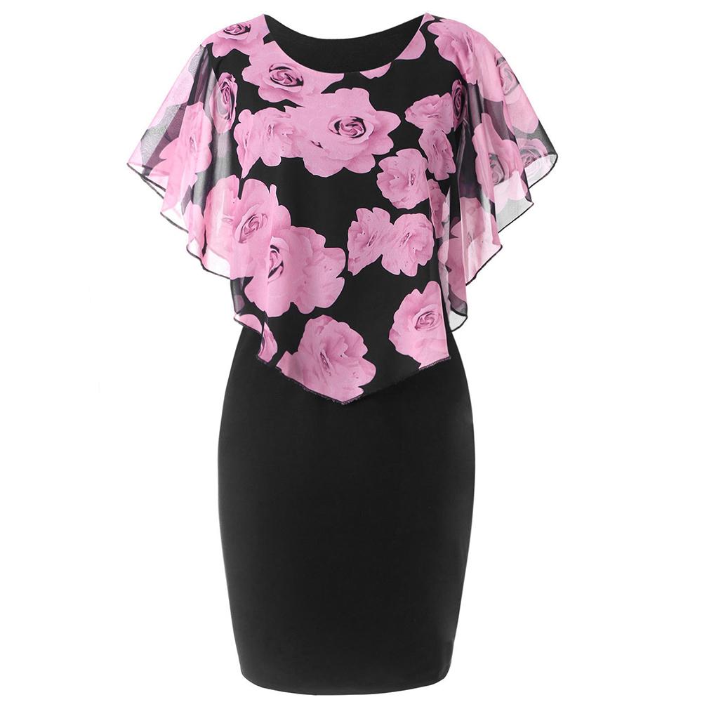 Rosegal plus size rosa dos namorados overlay capelet dress 2019 verão o pescoço mulheres de manga curta bodycon vestidos de festa vestidos robe y190514