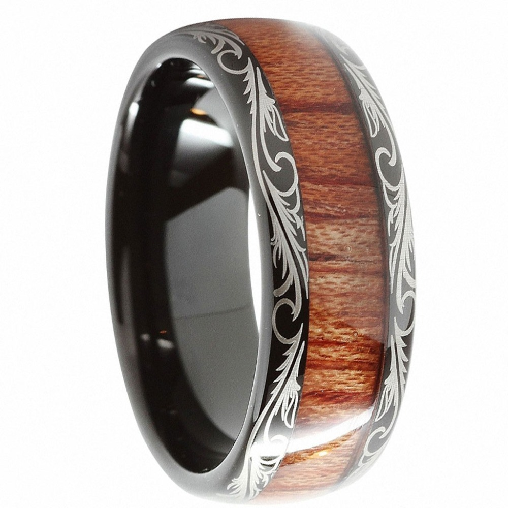 Dropshopping-Mens-8mm-Black-Tungsten-Carbide-Vintage-Wedding-Jewelry-Ring-KOA-Wood-Engagement-Promise-Band-for-Him