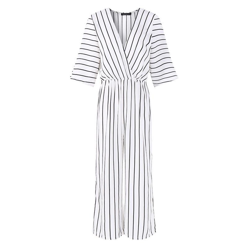 Fashion Zanzea 2019 Women Jumpsuit Summer Casual Wide Leg Pant V-neck Short Sleeve Striped Rompers Office Long Playsuit Bodysuit MX190726