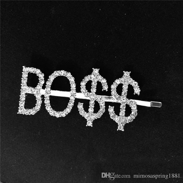 Newest Rhinestone Letters Hair Pin Unique Sign BOSS Barrette for Women Crystal Hair Clip Letter Accessory Hair Jewelry