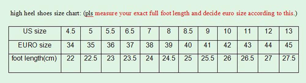 women shoes size chart