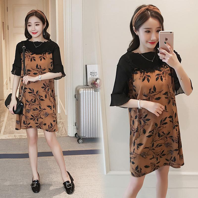 335 Fashion Soft Knitted Chiffon Maternity Dress S...