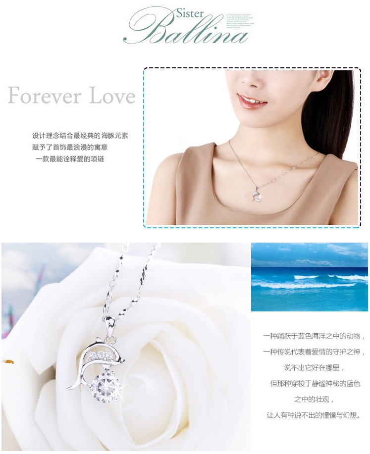 OMHXZJ Wholesale geometric dolphins love woman fashion kpop star 925 sterling silver pendant Charms PE53  NO Chain Necklace