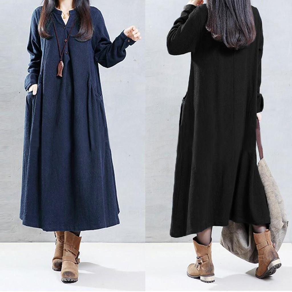 Feitong Women Loose Long Sleeve V Neck Buttons Linen Shirt Dress Pockets Maxi Dress Women's Clothing Of Large Sizes Summer Dress
