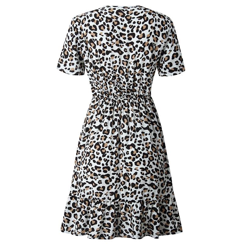 Forefair Print Leopard Dress sexy women short sleeve v neck Ruffle high waist Hem mini a line casual summer dress 2019 vestidos (26)