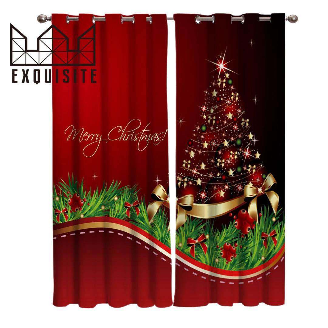 Decoration Maison Interieur Rideaux exquis maison merry christmas tree traitements de fenêtre rideaux valance  salon cuisine chambre intérieur décor rideau swag