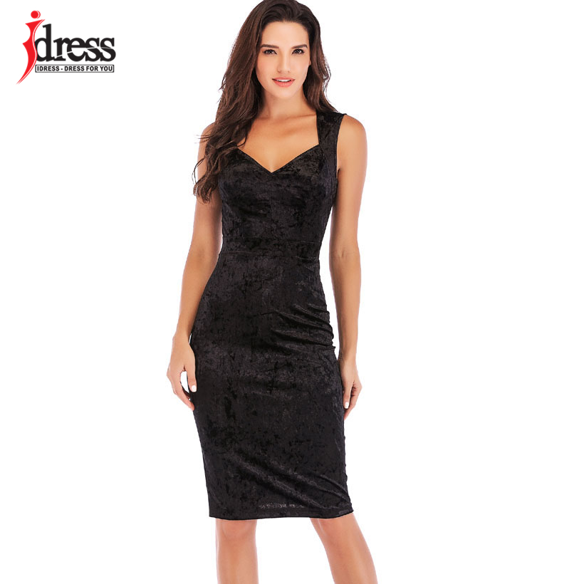 IDress New Sexy Velvet Club Dress Sleeveless V Neck Sexy Knee Length Autumn Dress Women Sheath Pencil Midi Bodycon Party Dresses (12)