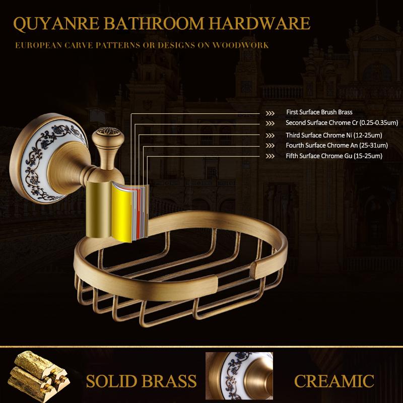 Quyanre Bathroom Hardwares Antique Brass Luxury Bathroom Accessory paper Holder Toilet Brush Rack Commodity Basket Shelf Soap Dish Towel Ring5