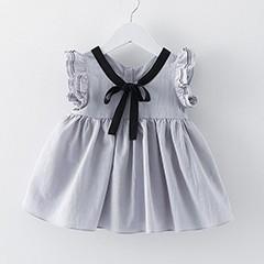 Baby-M-dchen-Kleid-2019-Neue-Geburtstag-m-dchen-kleid-Baumwolle-College-Stil-Bowknot-Fliegen-Sleeve