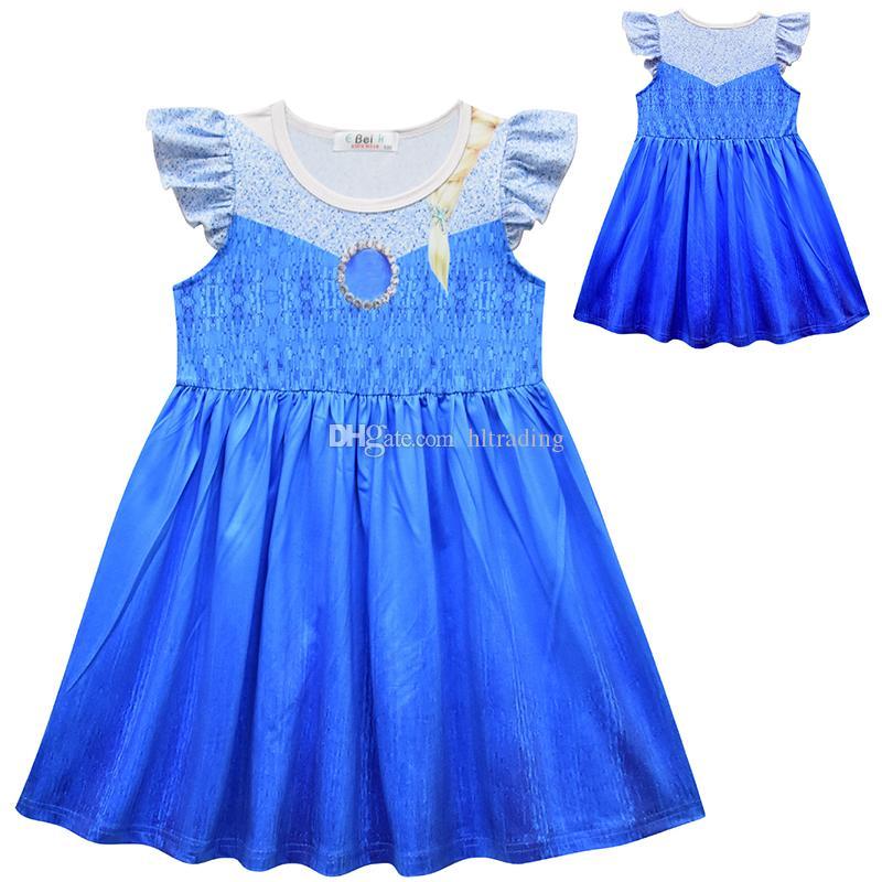 Çocuklar Parti Cosplay Kostüm Çocuk Fly Kol fırfır A-Line elbiseler Sundress Çocuk Cothing M1158 için Snow Queen 2 Bebek Kız Prenses Giydirme