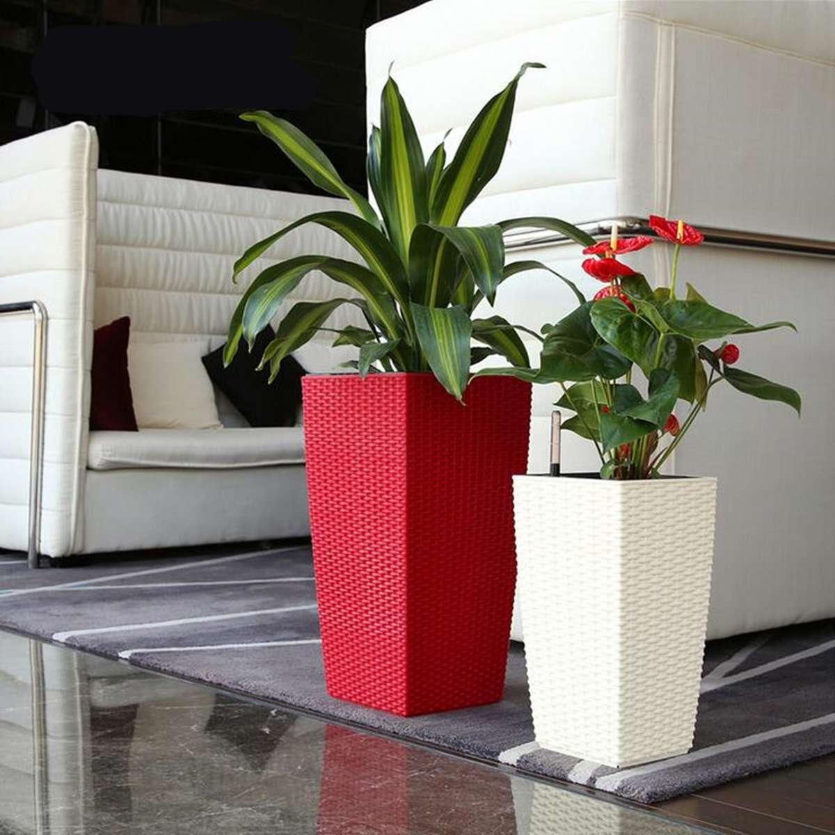 Gros Pot Fleur Plastique extérieur / intérieur creatives arrosage auto planteur le jardinage en  plastique de jardin tissé pot de fleurs avec l'eau indicateur de niveau