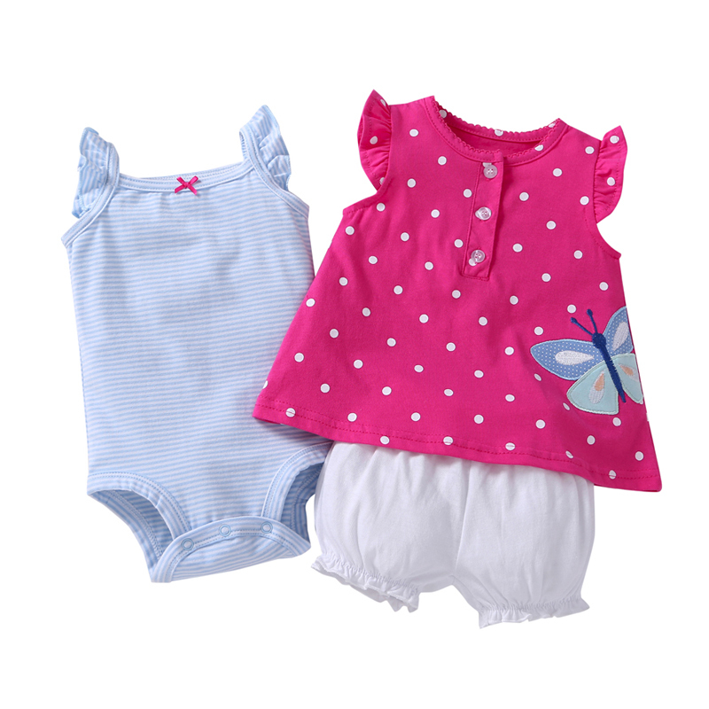 Cotton bebes Baby girl clothes stripe dress pinks romper and shorts Baby Clothing Set baby Girls summer Sets 3 pieces/set