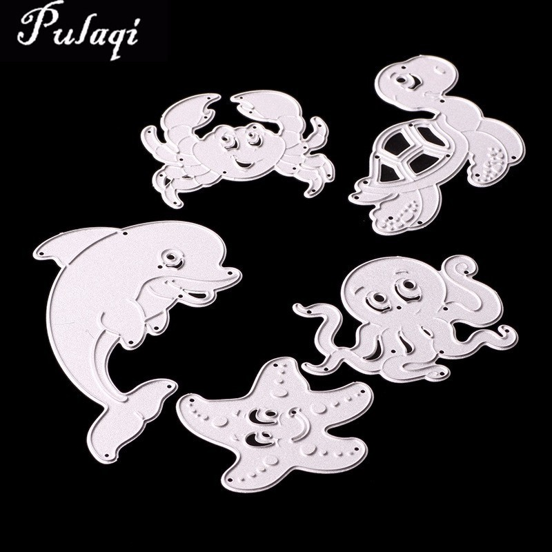 Pulaqi Silver Metal Border Cutting Dies Scrapbooking Sea Dolphin Turtle Stamps and Dies Stencils for DIY Knife Mould Die Cuts D