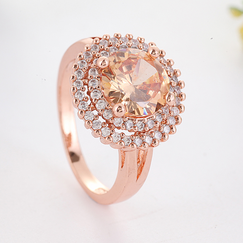 Big Orange Stone Rings For Women Luxury Wedding Gold Color Ring Ladies Accessories Ring Femme Anillo Mujer O5h932