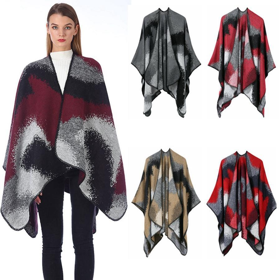 Women Schal Winter Patchwork Plaid Poncho Cape Decke Umhang wickeln Schal Umhang