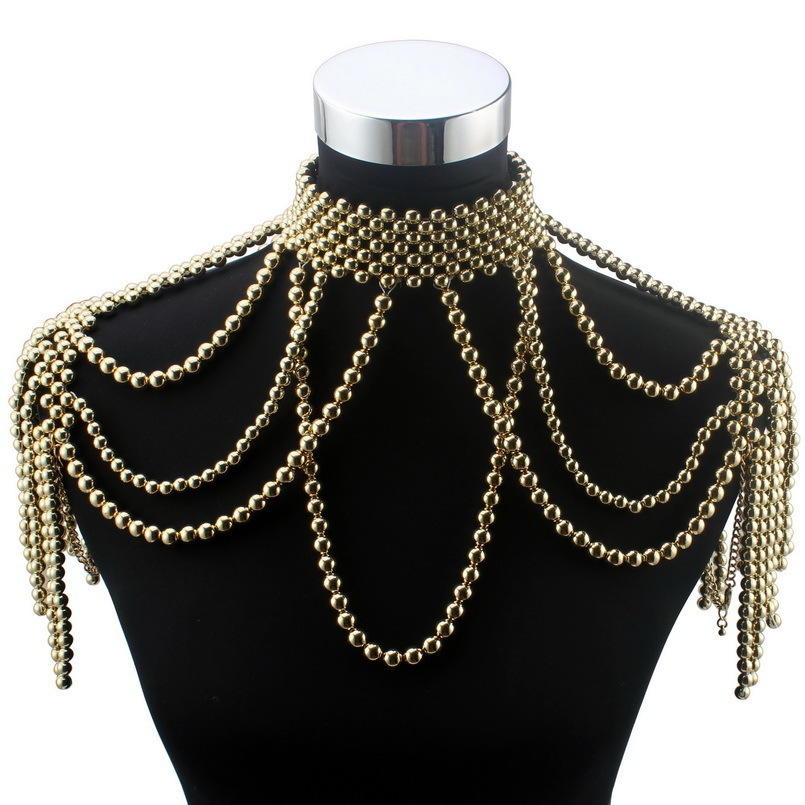 Florosy 긴 비드 체인 Chunky 시뮬레이션 진주 목걸이 바디 쥬얼리 여성 의상 초커 펜던트 성명 목걸이 새로운 Y19050901