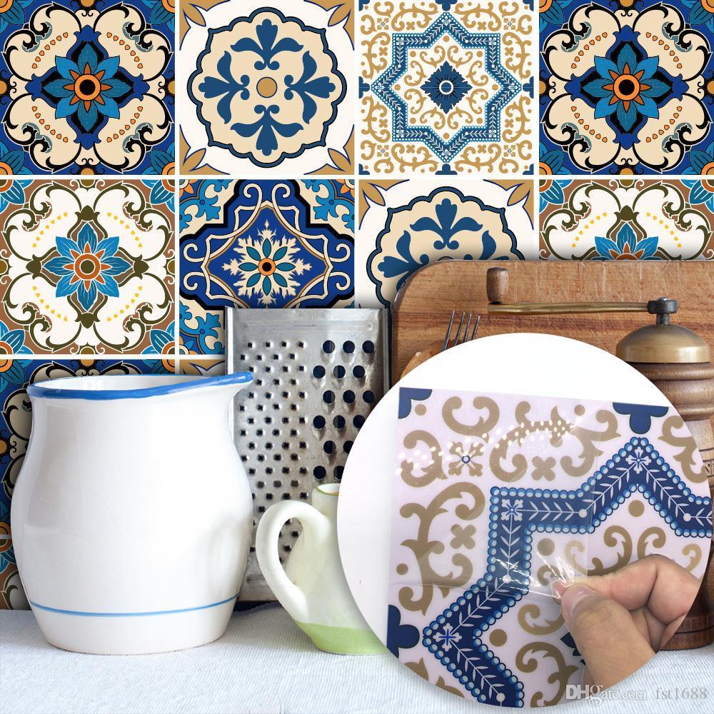Piastrelle Pvc Adesive Cucina 20 * 20cm impermeabile murale auto wallpaper adesivo mobili cucina  marocchina vinile stickers da bagno del pvc fai da te tile araba sticker
