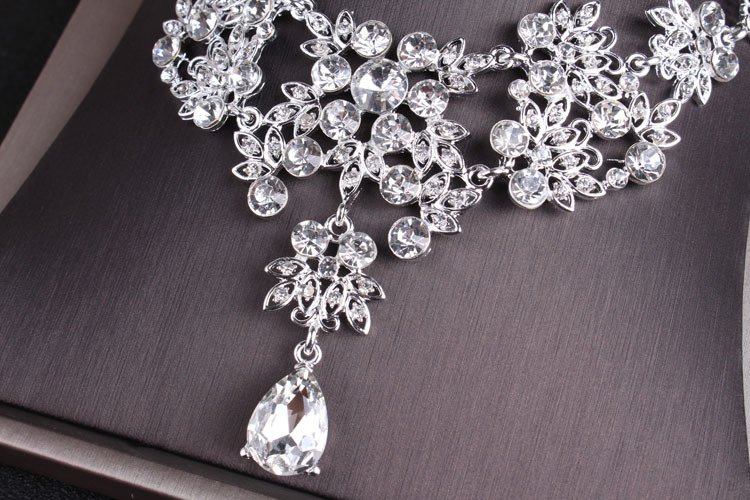 Rhinestone Jewelry Sets Necklace Pendant Tiaras Earrings For Women Pageant Wedding Crowns Bridal Hair Accessories (10)