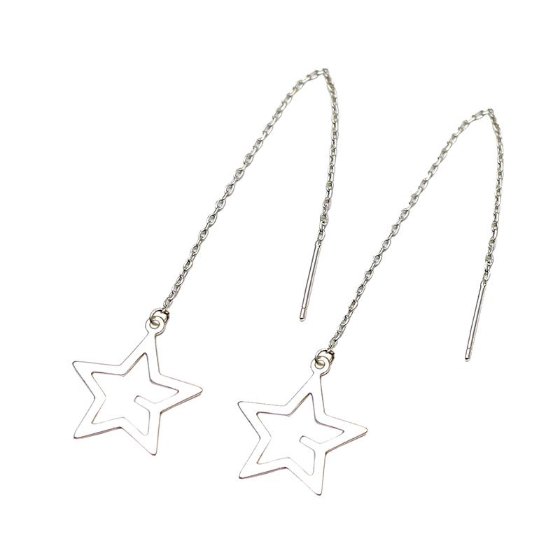 wholesale women fashion jewelry 925 sterling silver long chain earrings stud findings 49X1mm hole 2mm post earrings ID 29459