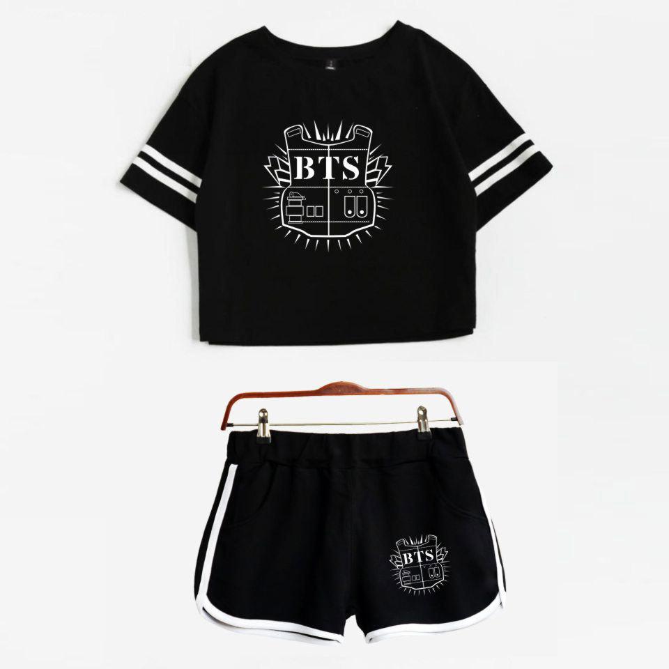 Luckyfridayf 2018 Bts Álbum Love Yourself Kpop Summer Un traje Pantalones cortos y camisetas Estampado Mujeres Fit Hip Hop Ropa estilo casual Y19042501
