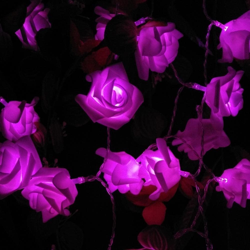 Solar String Lamps 20 LED Flower Blossom Rose Decorative Lights Waterproof Fairy Garden Outdoor Indoor Wedding Christmas (10)