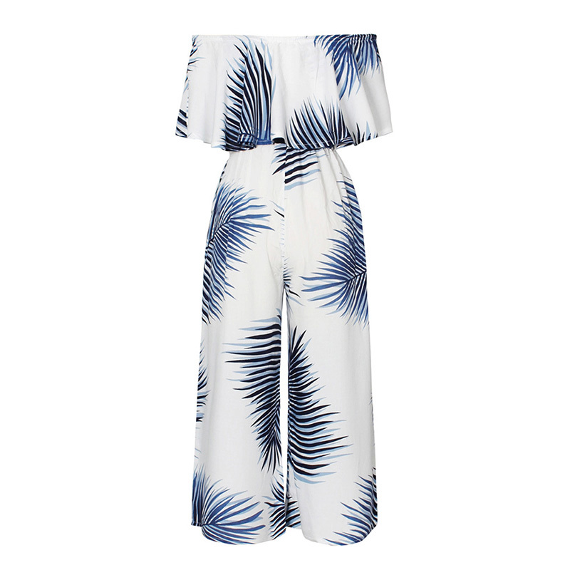 b1f6440cae4 Sexy Tropical Jumpsuits Women Ruffles Off Shoulder Print Jumpsuit Overlay  Wide Leg Long Pants Slim High