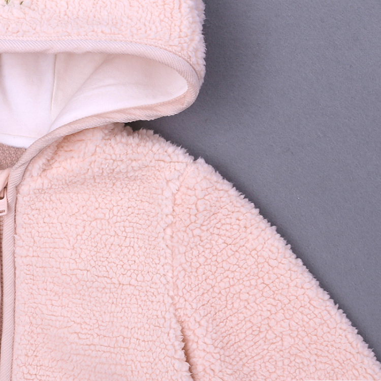 Pink hooded baby coat cute cartoon girls outfits (3)