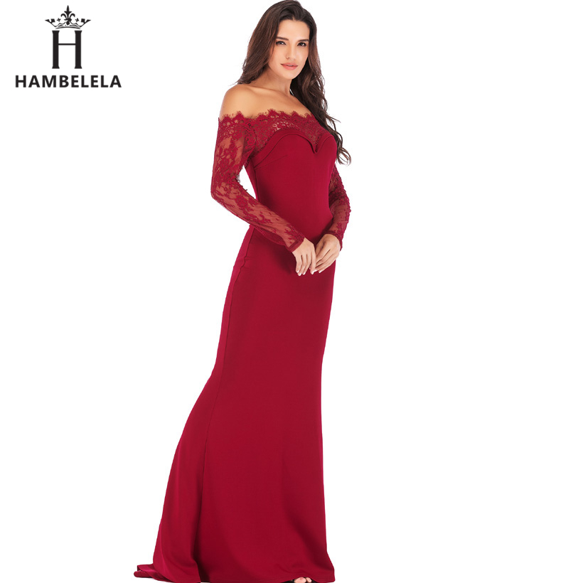HAMBELELA Robe De Soiree Longue Long Sleeve Mermaid Evening Dresses Formal Evening Gowns China Vestido Longo Bodycon Lace Dress (4)