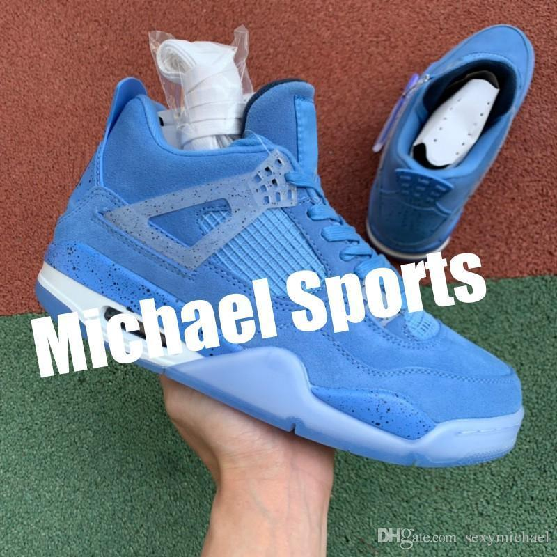 4s Unc Blue Player Edition Top Factory Version 4 Баскетбольная обувь Мужские кроссовки 2019 Замшевые кроссовки