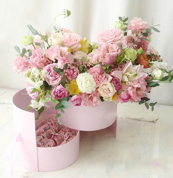 Scatole di carta di fiore rotondo doppio strato con nastro rosa bouquet confezione regalo scatola di cartone San Valentino decorazione di nozze J190706