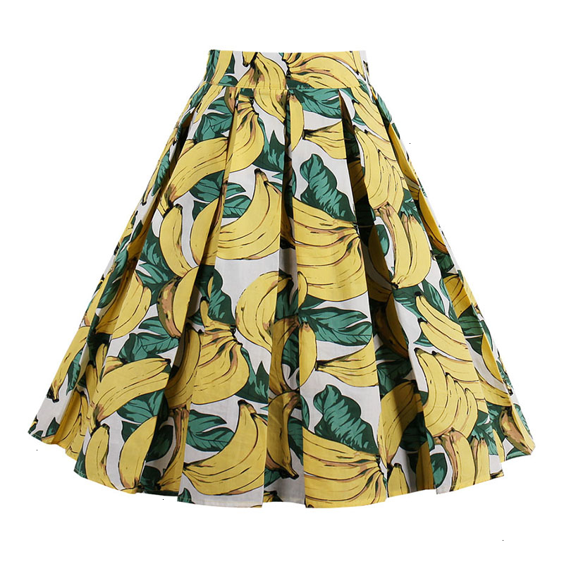 Kostlish Retro Print Flower Summer Skirts Womens High Waist Vintage Skirt Elegant A-Line Midi Women Skirt Plus Size XXL 22 (83)