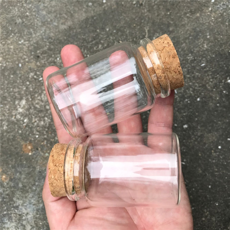 80ml Glass Bottles With Cork Small Transparent Mini Empty Glass Vials Jars Container Clear Food Botlles Eco-Friendly (3)