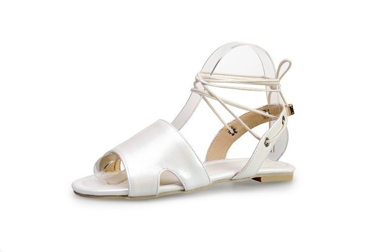 Hot2019 Skin Light Pearl Pu Ankle Trip Bring Will Women's Shoes 32-48 Flat Bottom Sandals M219