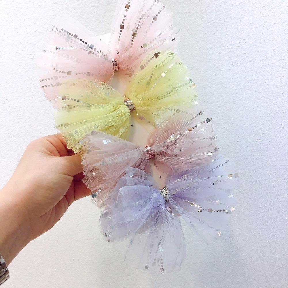 Boutique ins Fashion Glitter Gauze Bow Hairpins Solid Stain Ribbon Big Bowknot Hair Clips Princess Headwear Hair Accessories