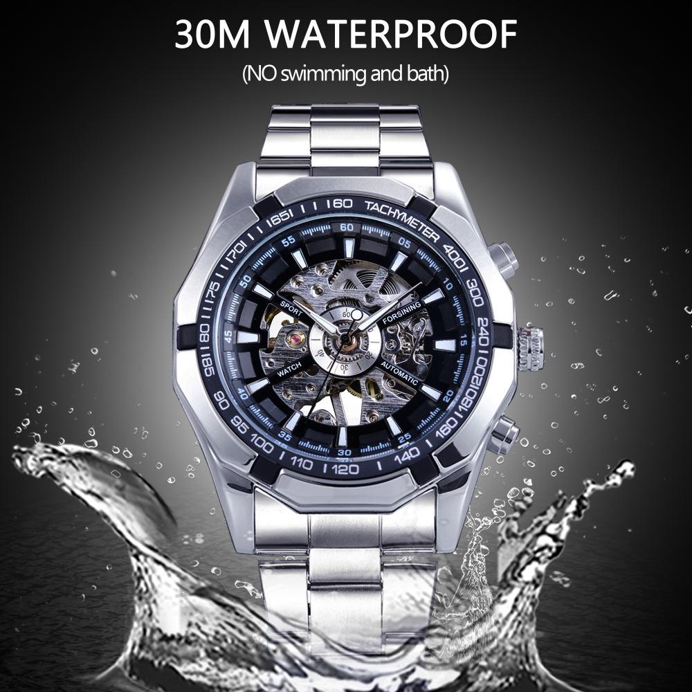 Forsining 2017 Silver Stainless Steel Waterproof Military Sport Casual Mechanical Wrist Watch Mens Watch Top Brand Luxury Clock Y19051703