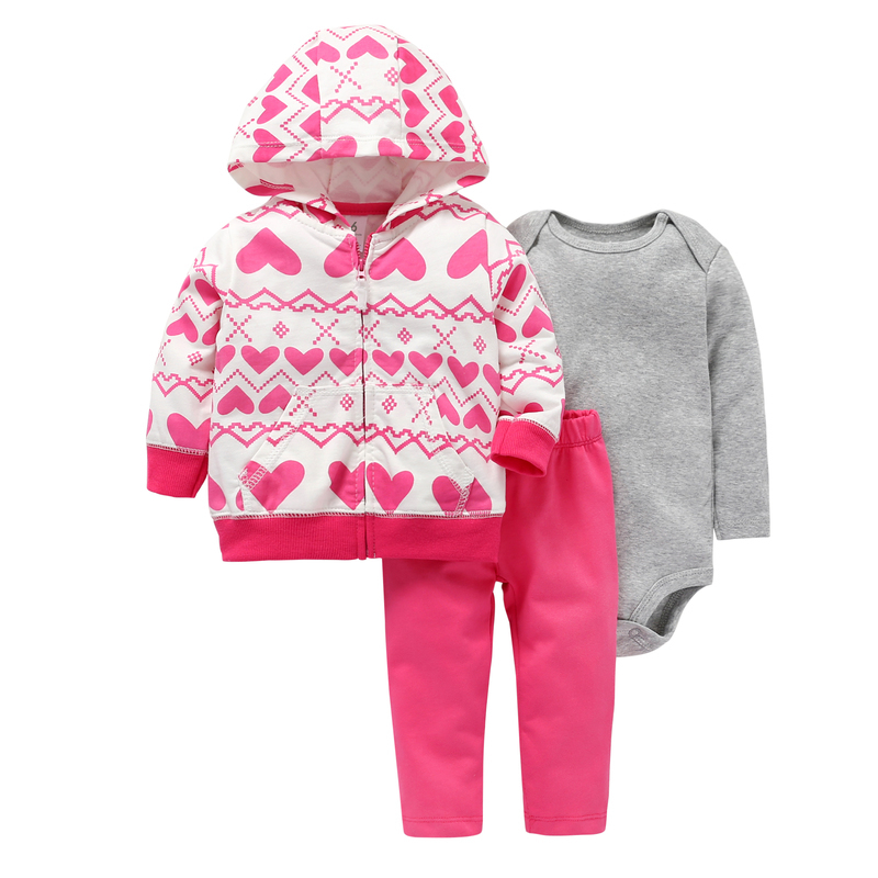 2018 autumn winter baby clothes 3PCS baby girl outfit cute heart hooded coat+rompers cotton+pink pants newborn clothing set