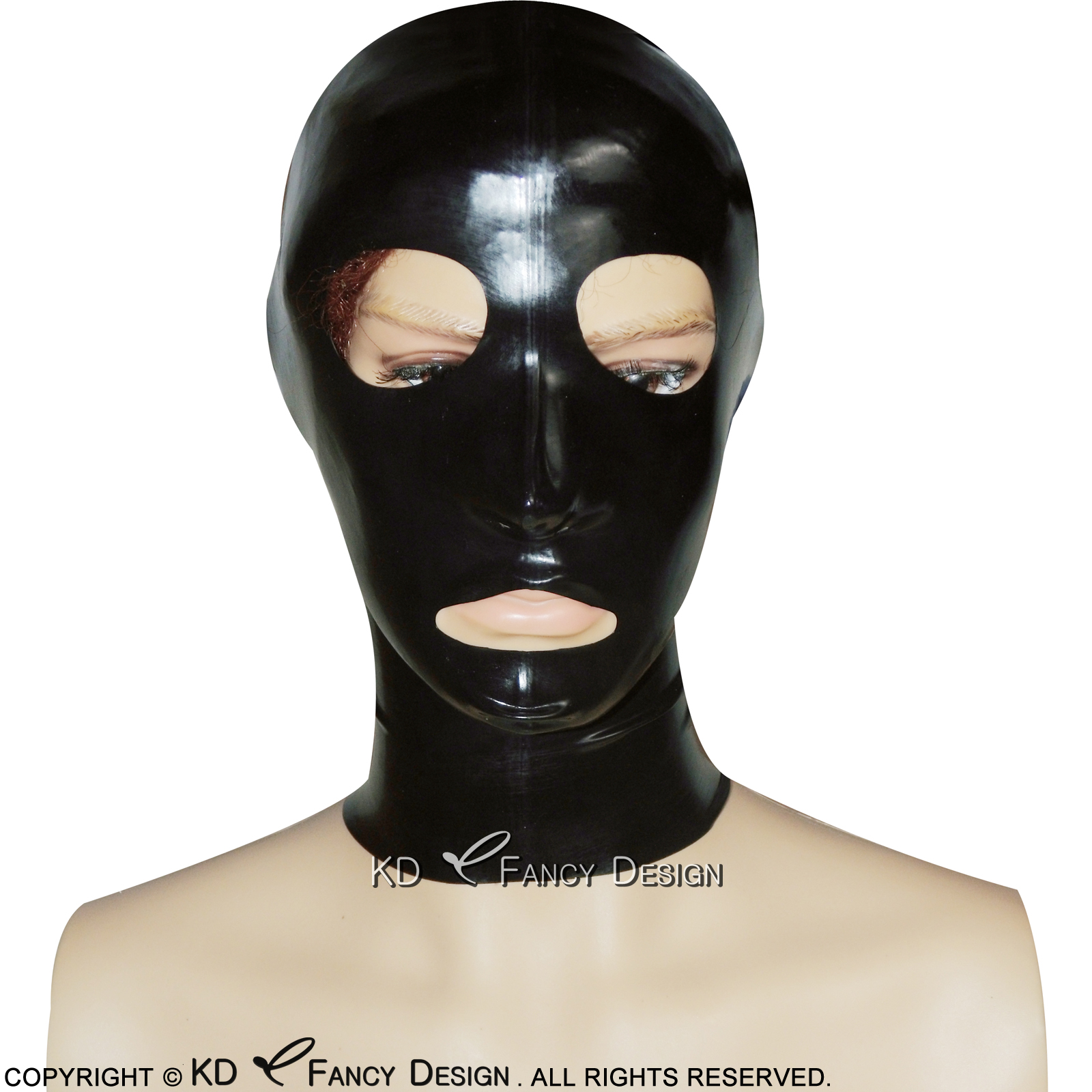 Eye outlined PVC Mask Wet Look mask white eyes and mouth Size M PVC Hood