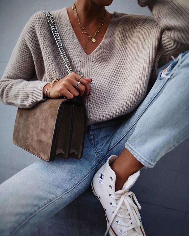 Long Sleeve Casual Sweaters Women