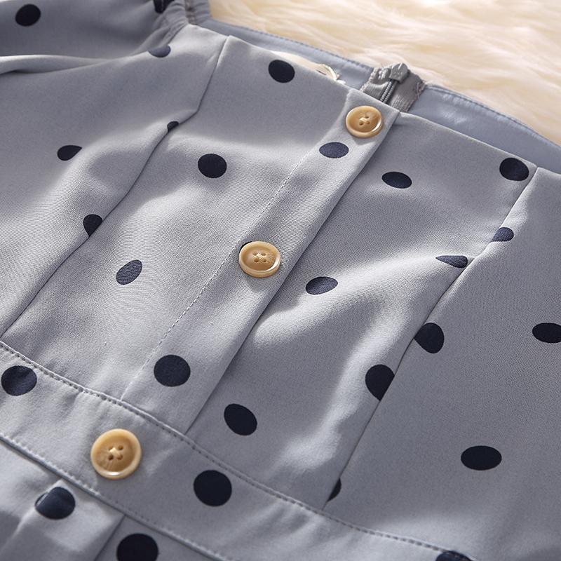 Summer Dress 2019 Women Elegant Blue Dot Print Square Collar A-line Slim Mid-calf Long Beach Casual Dress Party Vacation Y190425